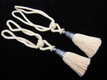 2 curtain tassel tiebacks Natural cotton rope drape tie backs Silver black fill